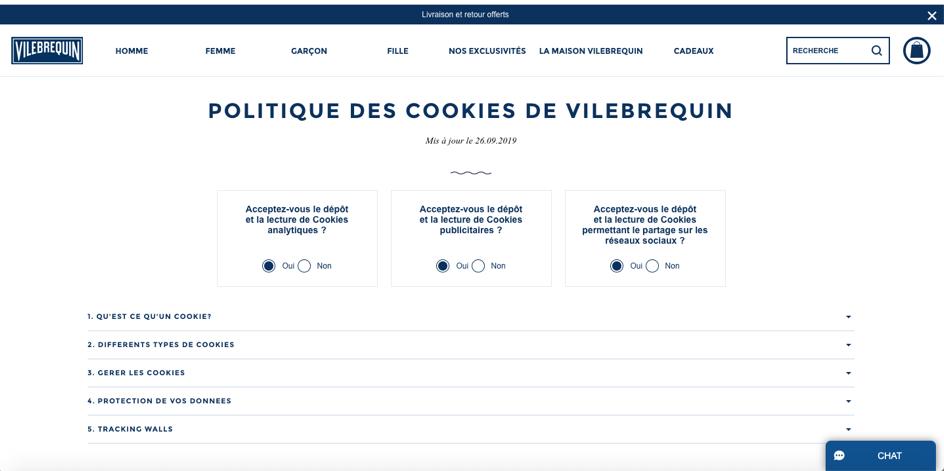 politique de cookies vilebrequin